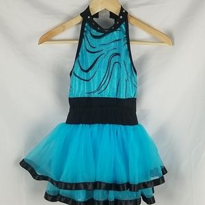 Dance Costume Blue Dress Sparkly Diamond Studs